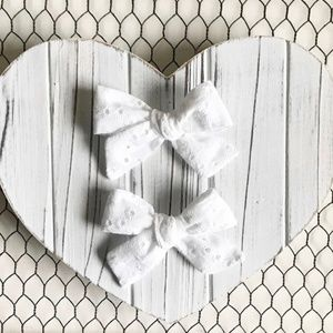 Other - White Eyelet Pigtail Hair Bow Set